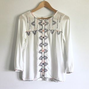Lucky Brand White Embroidered Blouse - XS